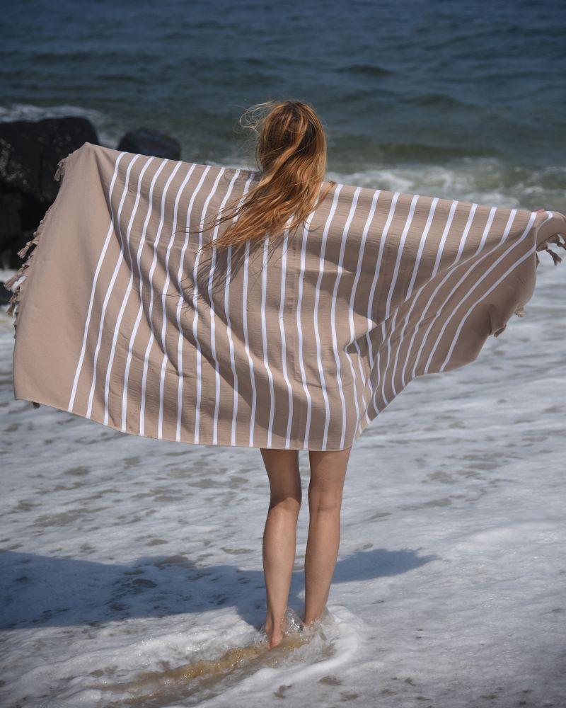 Livia Peshtemal Beach Towel-Brown